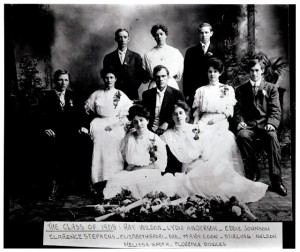 A picture of the class of 1908. Unsure of who here, if any, was involved in putting out the fire.
